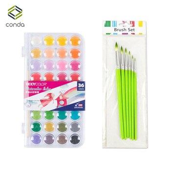 Conda 36 цветов Professional Solid Water color краски с кистью набор основы живопись пигмент портативный эскиз цвет книги по искусству инструмент