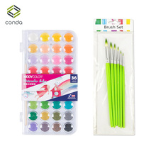 Conda 36 Colors Professional Solid Watercolor Paints with Brush Set Fundamentals Painting Pigment Portable Sketch Color Art Tool