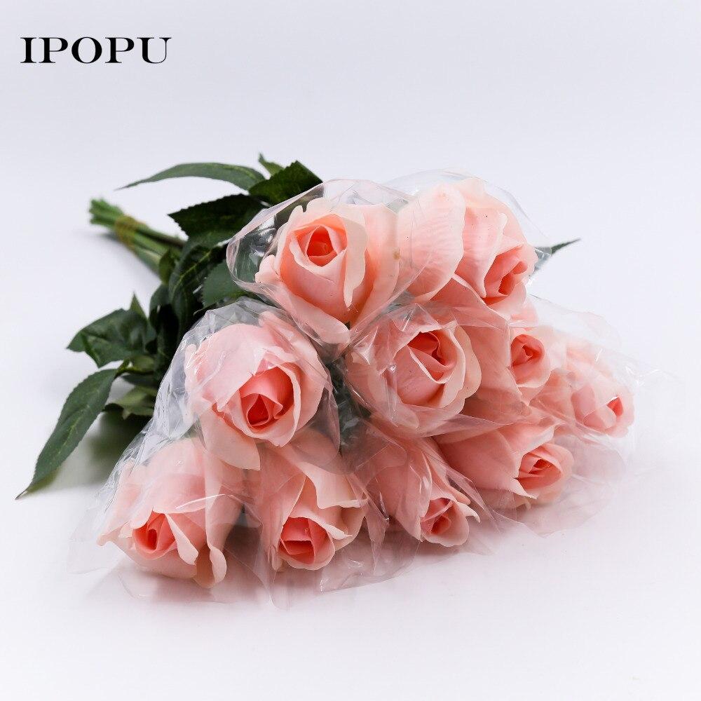 ჱ20 unids/lote flores artificiales de látex rosa para una fiesta de ...