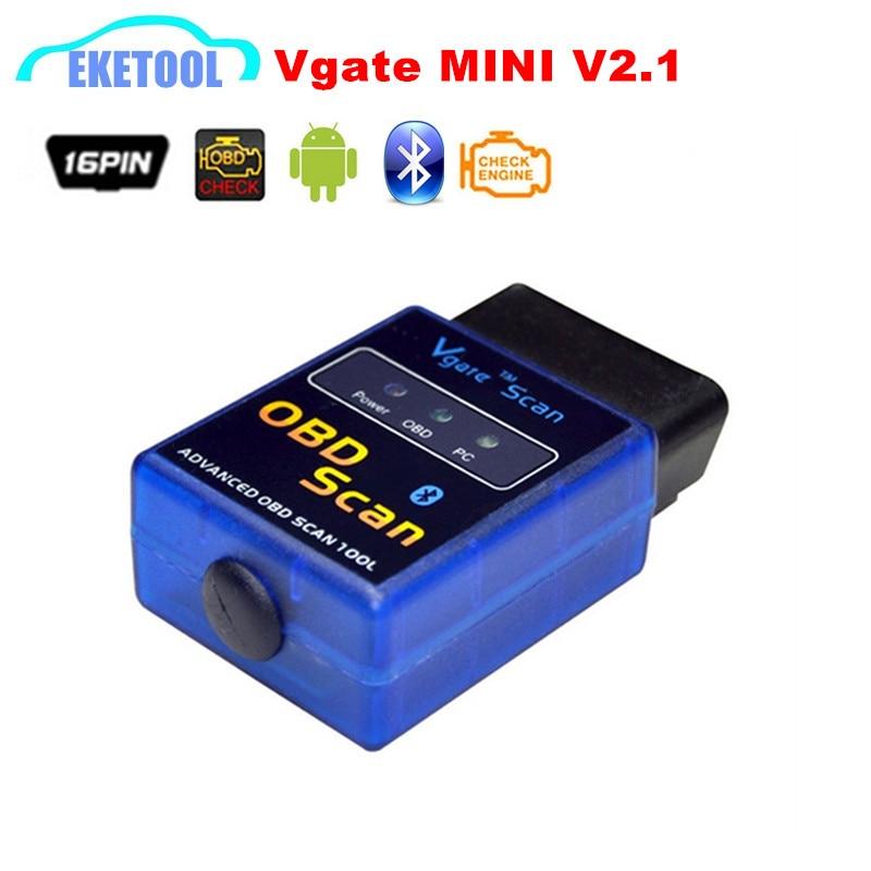 Car Auto Diagnostic Scanner ELM327 MINI V2.1 Vgate OBD OBD2 Scan ELM 327 Bluetooth Works On Android/Symbian/Windows