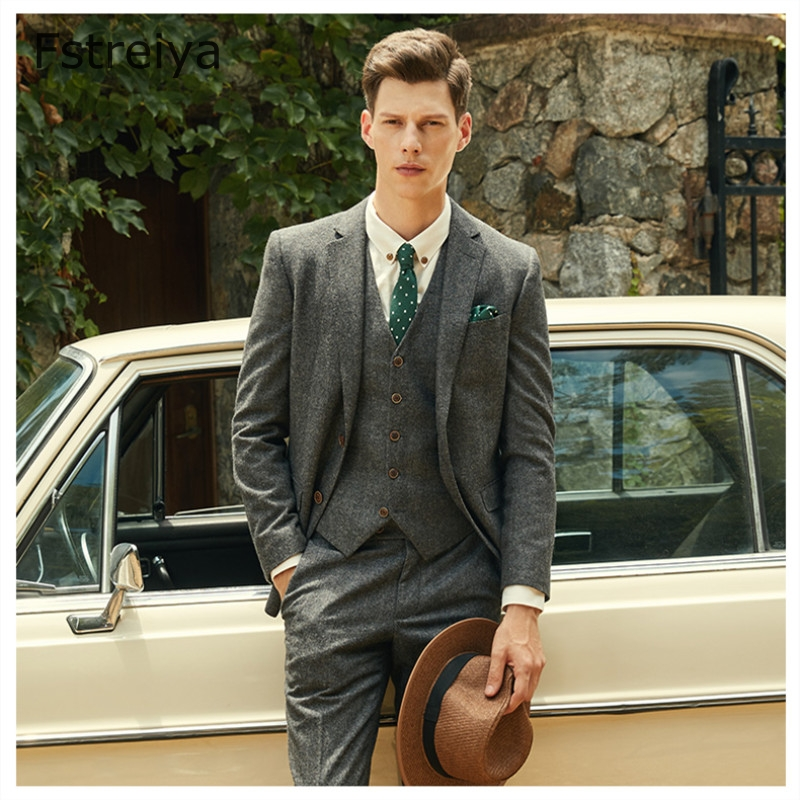 Custom Made Wool Men Slim Fit Suits For Wedding Tailored Tweed Suit With Pants Men Groom Clothes Latest Coat Pant Design 3 Piece
