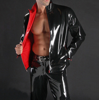 Men's black latex jacket rubber coat with long sleeves plus size hot sale Customize Service