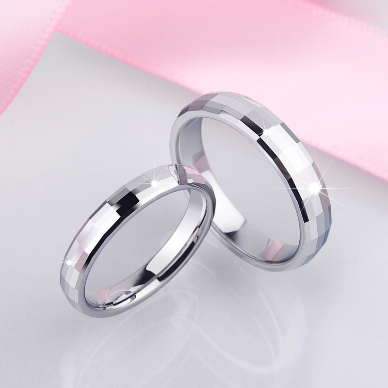 New Arrival <font><b>Couples</b></font> <font><b>Ring</b></font> <font><b>Set</b></font> White Tungsten Wedding Band High Polished Scratch Proof 3.2MM/4MM Man Woman Free Shipping Size 5-12 image