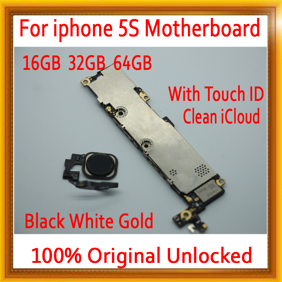 For iPhone 5S Motherboard Original unlocked Mainboard with Touch ID,with Clean iCloud MB Plate for iphone 5S Logic boardsFor iPhone 5S Motherboard Original unlocked Mainboard with Touch ID,with Clean iCloud MB Plate for iphone 5S Logic boards