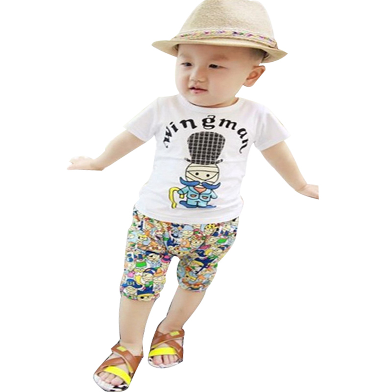 2015 new summer Korean 100% Cotton Fashion Style kids clothes baby boy/girls 1set Short sleeve + pants clothing set 0-3 year одежда на маленьких мальчиков