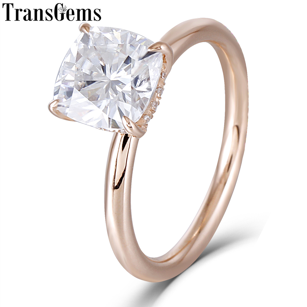 Transgems 14 k Rose Gold 1.5ct Carat7mm F Colore Cushion Cut Moissanite Anelli di Fidanzamento Con Diamante Per Le Donne Da Sposa con Accenti