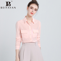 BEIYAYAN High Quality Solid Pink Shirts With Pockets Turn Down Collar Buttons Long Sleeve Office Women