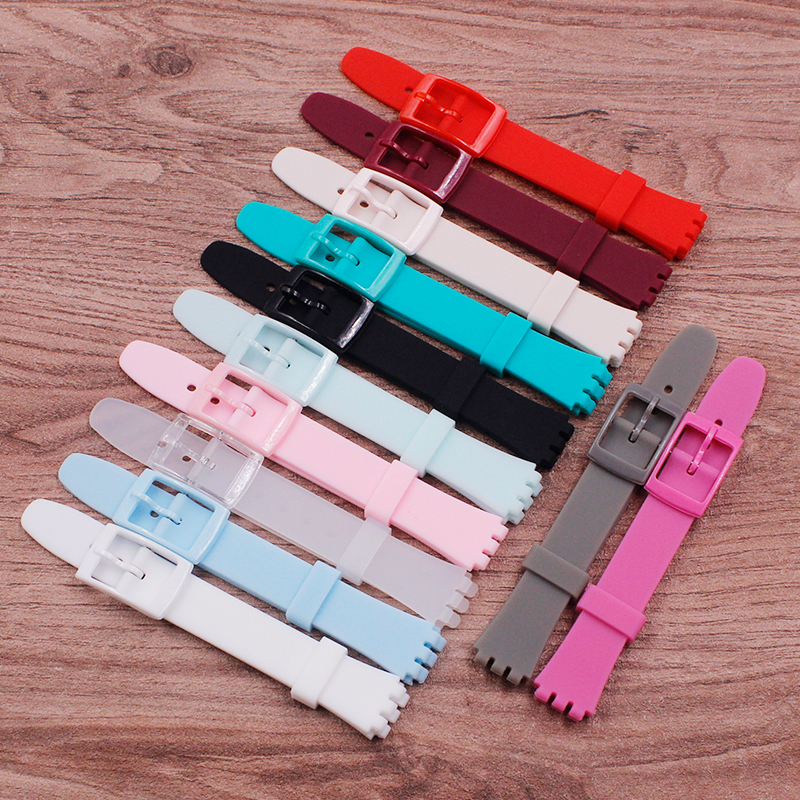 Watch Accessories Top quality 12mm silicone rubber strap for Swatch color rubber band strap strap plastic buckleWatch Accessories Top quality 12mm silicone rubber strap for Swatch color rubber band strap strap plastic buckle