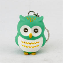 cartoon night owl led keychains flashlight sound rings Creative kids gift toys cute cartoon sound light keychains