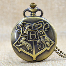 Hogwarts Dracodormiens Nunquam Titillandus Harry Potter Quartz Pocket Watch Mens Analog Pendant Necklace Gift P250(China (Mainland))