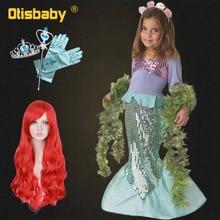 Girls Ariel Dress The Little Mermaid Up Childrens Evening Party Trumpet Dresses Kids Carnival Halloween Costume Wig