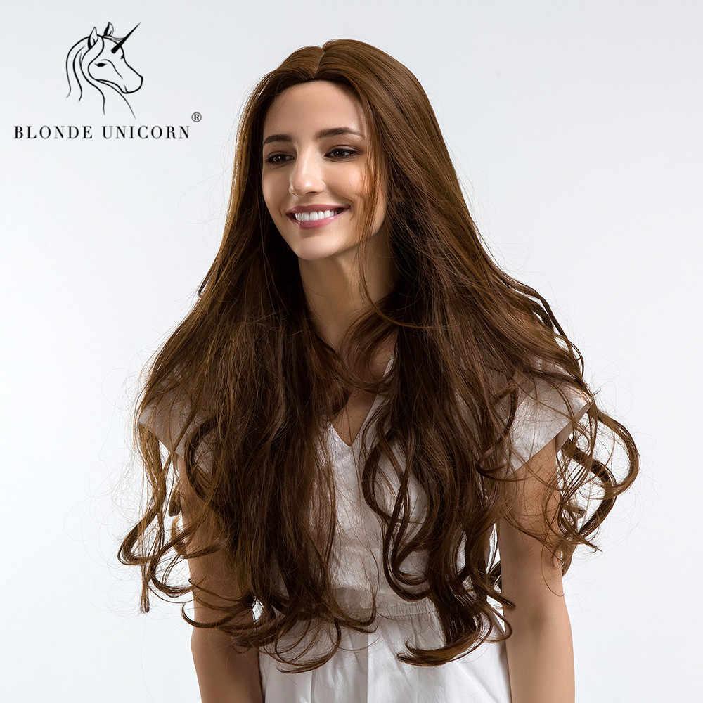Блонд Единорог синтетический 28 дюймов высокой плотности температура длинные волнистые каштановые парики Косплей черный белый женский кудрявый парик