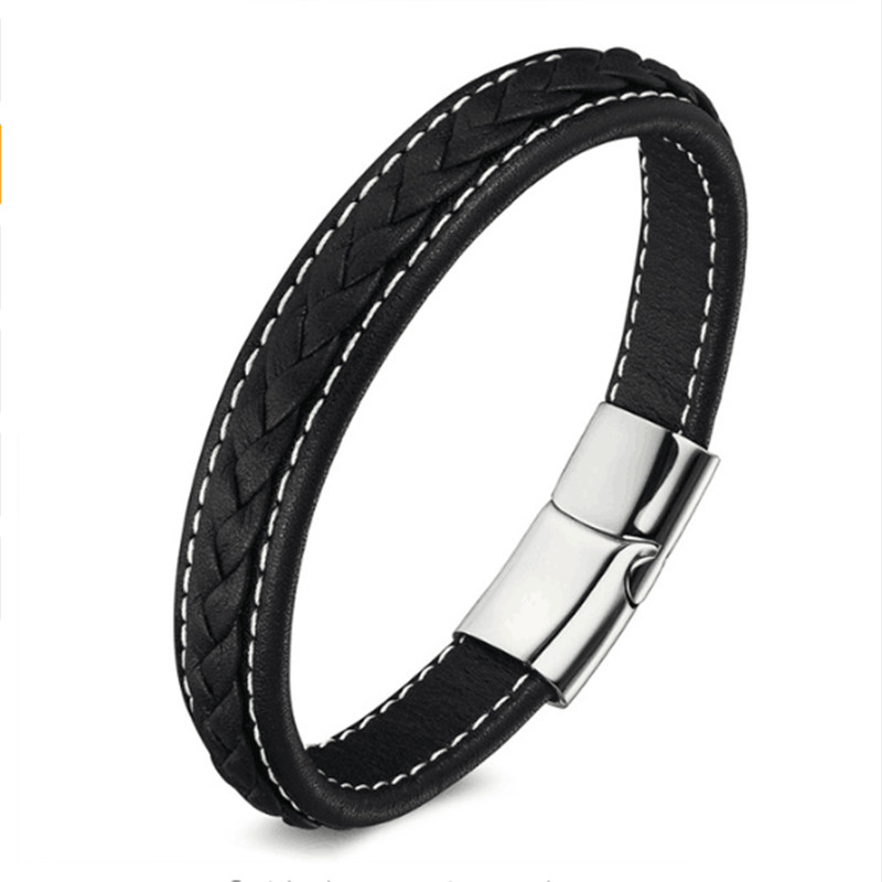 Punk Genuine Leather Bracelet Fashion Stainless Steel Magnetic Buckle Charm Bracelets Men Women Leather Bracelet 19,21, 23 cm