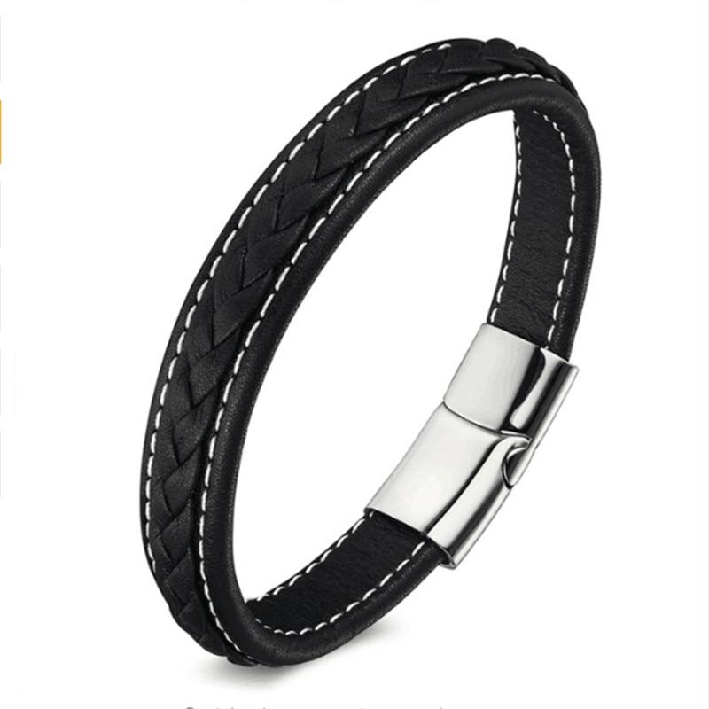 Punk Genuine Leather Bracelet Fashion Stainless Steel Magnetic Buckle Charm Bracelets Men Women Leather Bracelet 19,21, 23 cm