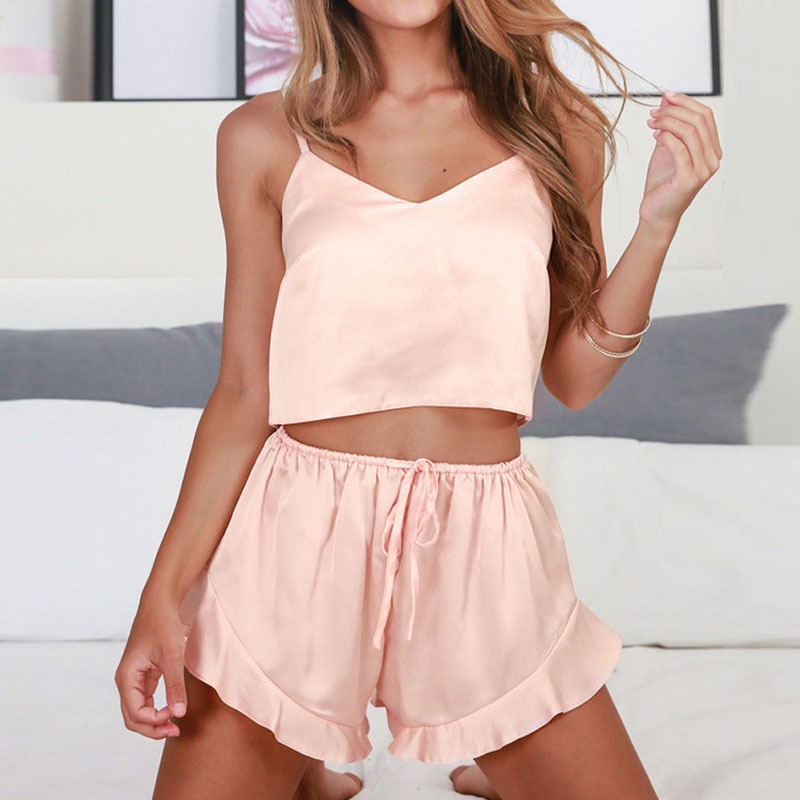 2pcs/  set   Women Sexy Sleepwear V Neck Sleeveless Pyjamas   Sets   Camisole + Shorts   Pajamas     Set