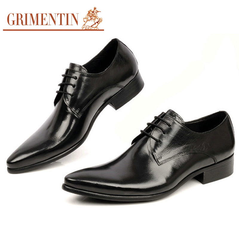 92992f70d7299 GRIMENTIN Men Dress Shoes Handmade Genuine Leather Lace Up Black Brown  Italian Designer Wedding Flats Size 6.5 11 ox10-in Formal Shoes from Shoes  on ...