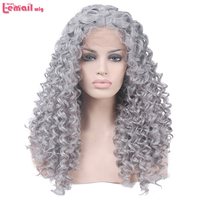 L-email wig 40cm/15.7inches Short Curly Women Lace Front Wig Orange Silver Heat Resistant Synthetic Hair Women Swiss Lace Wigs