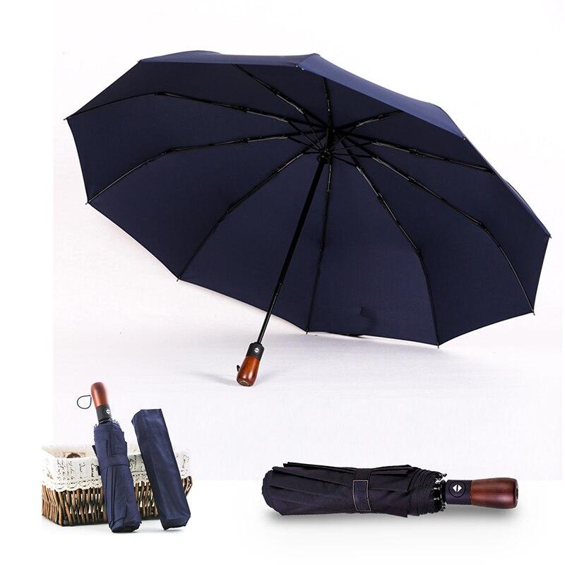 10 K Entièrement Automatique Parapluie Manche En Bois Noir et Bleu Couleur Hommes Grand 3 Parapluie Pliant Coupe-Vent Femmes Pluie Parapluies