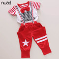 2017 Newest Summer Casual Kids Clothes Set for Boys Short Sleeve Striped T-shirt + Boys Harem Pants Black Red Colors CF261