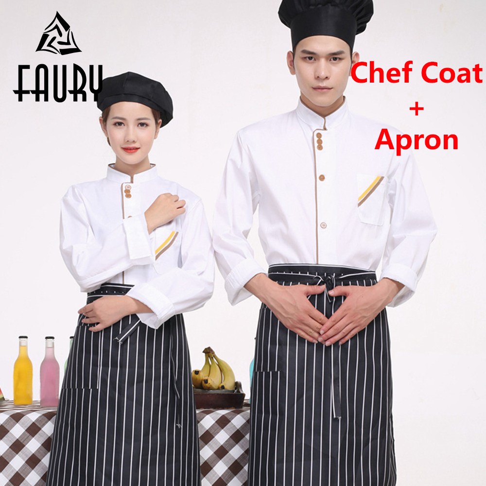 Unisex White Single-breasted Long Sleeved Chef Jacket Restaurant Kitchen Cooking Wear Clothes Uniforms Pocket Tops Aprons
