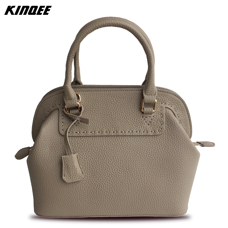 2017 Promotion Hot Sale Solid 30cm Shell Handbags Women Genuine Leather Cotton Inside Totes Cow Designer Casual Crossboday Bags hot sale cotton solid men tank top