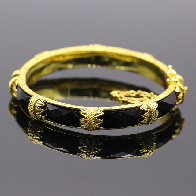 Classic Jewelry Bangle 24k Gold Filled Black AAA Zirconia Bangle Bracelet Women Party Prom Ornament Gift