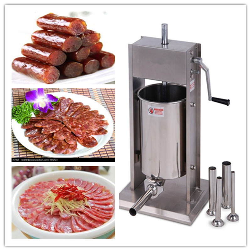 Commercial vertical 15L stainless steel manual sausage filling machine meat stuffers sausage stainless steel manual cut meat machine