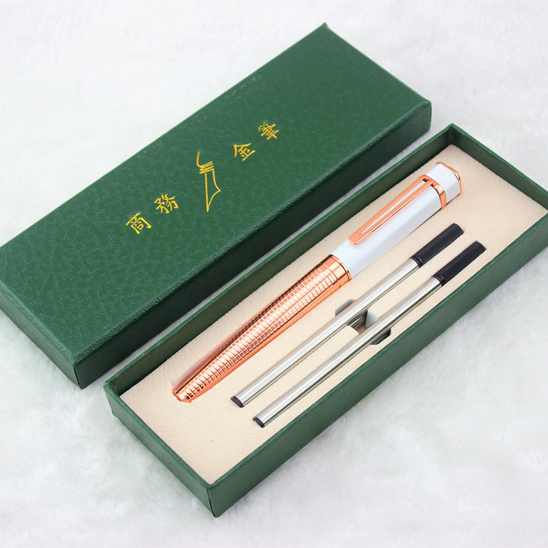 High-grade Gift Set Luxury white and rose gold Roller Ball Pen with white Gem Metal Ballpoint Pens Christmas Gift Free Shipping wholesale sales promotion ballpoint pen jinhao 1683 gold roller ball pen steel metal dragon gift silver send a refill yy12