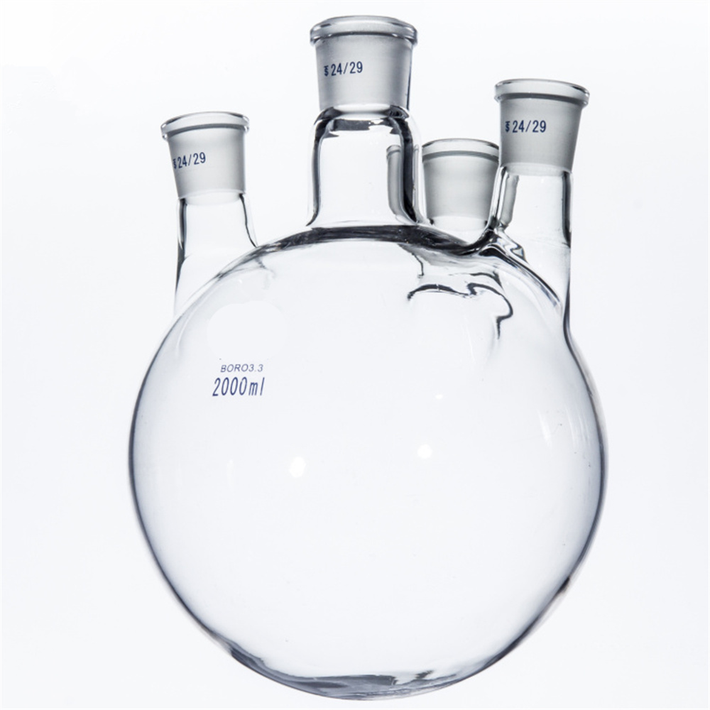 2000ml,29/32+24/29*3,4-neck,Round bottom Glass flask,Lab Boiling Flasks,Four neck laboratory glassware reactor 500ml 40 24 2 joint 3 neck round bottom straight necks flask lab glassware