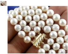 Women Gift Freshwater New Fashion Style 7-8MM 3Strands White Akoya Cultured Pearl Necklace Beads Jewelrylry Design Wholesale and