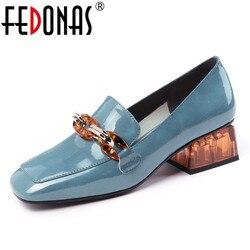FEDONAS Mode Vrouwen Pompen Lente Zomer Keten Hoge Hakken Party Schoenen Vrouw Echt Leer Vrouwelijke Merk Prom Schoenen Loafers