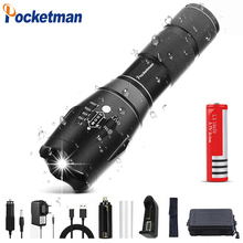 49999 Lums XP-L-V6 L2 LED Tactical Flashlight Torch Zoomable linterna Waterproof For AAA 18650 Rechargeable