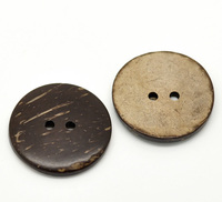 DoreenBeads 30PCs Brown Coconut Shell 2 Holes Sewing Buttons Scrapbooking 30mm(1-1/8