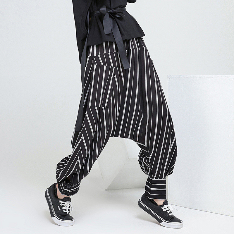 INCERUN 2018 Venta caliente hombres ropa Hip Hop Streetwear rayas suelta  entrepierna Harem pantalones Baggy moda 1787e042fcf