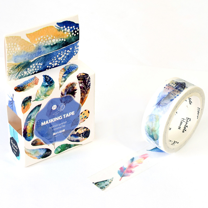 Colorful Feather Washi Tape Adhesive Tape Diy Scrapbooking Sticker Label Masking Tape