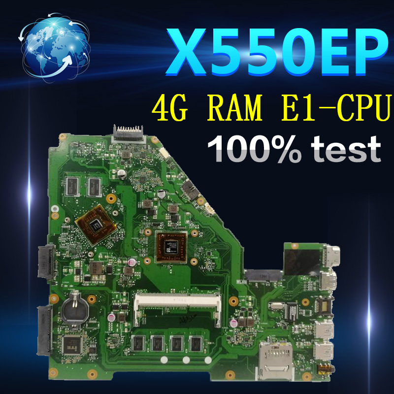 Amazoon X550EP Laptop motherboard for ASUS X550EP X550E X552E Test original mainboard 4G <font><b>RAM</b></font> E1-CPU image