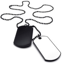 Jewelry Men's Necklace, 2 Military Identifiers Army Style Dog Tag Pendant with 68cm Necklace, White Black