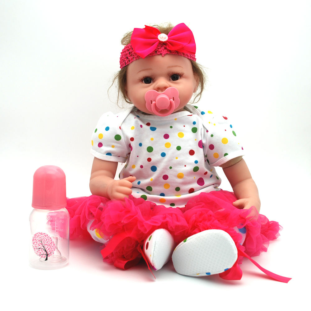 NicoSeeWonder 22 Inch Boneca Bebe Reborn Baby Dolls Lifelike Cotton Body Reborn Toddler Toys Girl Doll With Dress Kit For Gift short curl hair lifelike reborn toddler dolls with 20inch baby doll clothes hot welcome lifelike baby dolls for children as gift