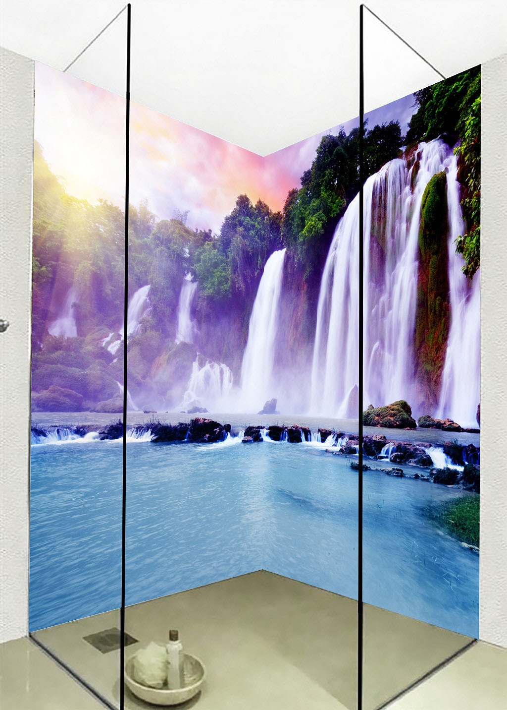 compare prices on waterfall wall decals online shopping buy low large 3d wall stickers boulder pretty waterfall wall mural floor decals creative design for home deco