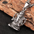 Thailand Elephant God of wealth short design necklace vintage fashion stainless steel chain pendant  accessories