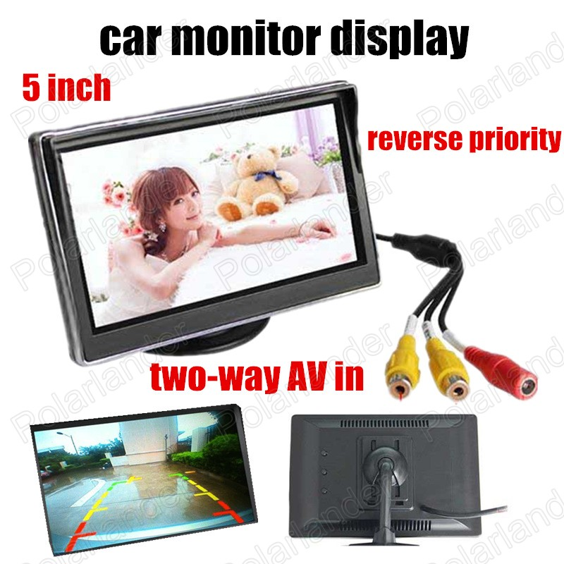 Backup rearview Camera DVD reverse priority 2 channels video input HD digital TFT LCD Screen 5 Inch LCD Car Colorful Monitor