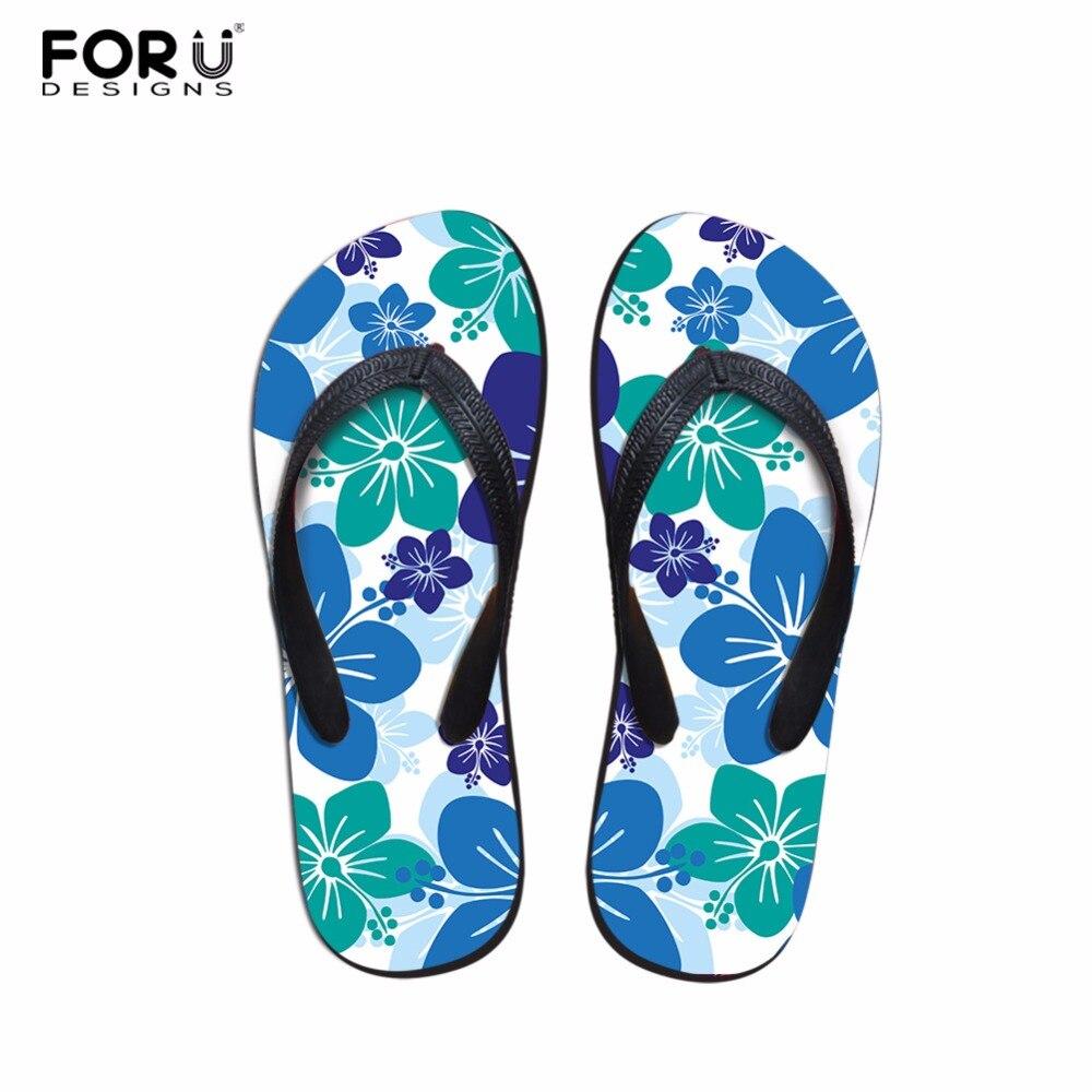 Forudesigns Summer Flowers Women Soft Rubber Flip Flops -5484