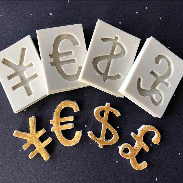Us Dollar Euro Yuan Pound Sterling Symbol Silicone Fondant Mould Diy