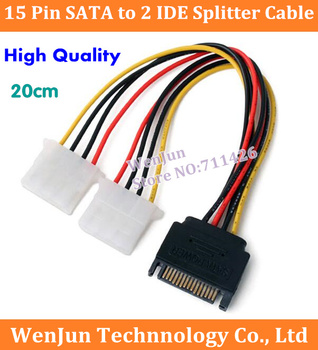 500PCS DHL Free Shipping 15 Pin SATA Male to 2 IDE Splitter Female Power Cable 20cm High Qulaity
