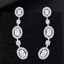 купить SisCathy Brand Fashion Jewelry Statement Stud Earrings For Women Cubic Zirconia Bridal Wedding Earrings Ear Jewelry Accessories дешево
