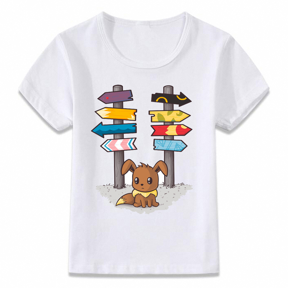Kids Clothes T Shirt Eevee Pokemon Evolution Which Way To Go T-shirt For Boys And Girls Toddler Shirts Tee Oal289