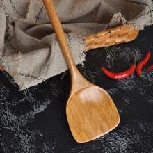 Длинная Деревянная рисовая лопатка Совок кухонная посуда антипригарная ручная лопатка для котелка с выпуклым днищем