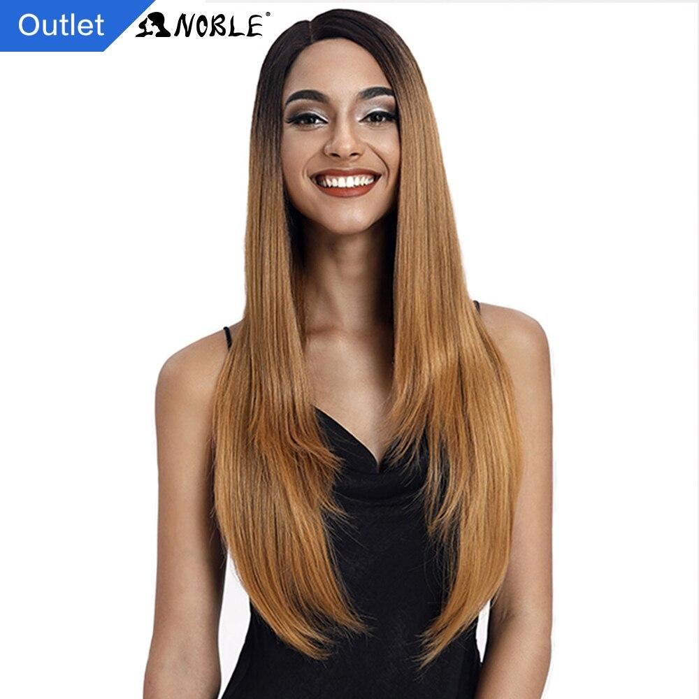 Благородный синтетические кружева парики для черный Для женщин 28 дюймов прямые Kanekalon волос парик, окрашенный Омбре Косплэй парики синтетич...