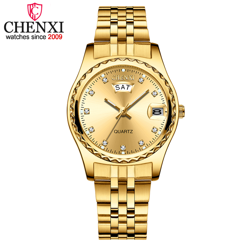 2020 CHENXI New Gold Watches Women Dress Watch Fashion Ladies Rhinestone Quartz Watches Female WristWatch Clock Relogio Feminin