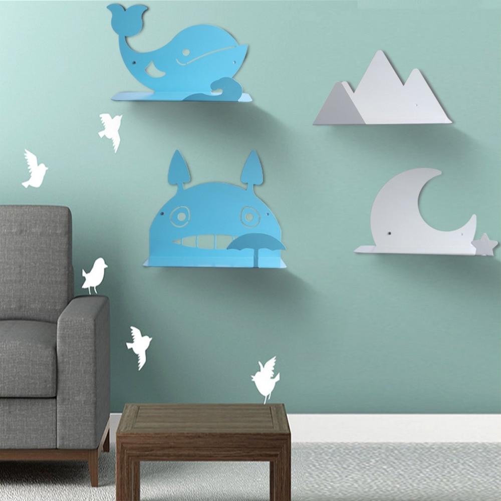 Industrial Retro Wall Metal Shelf Iron Cartoon Hung Bracket Diy Storage Shelving for Home Decoration
